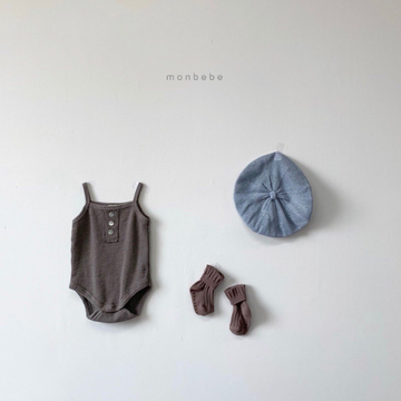 monbebe waffle bodysuit in brown for baby girls