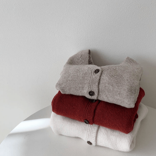 monbebe wool cardigan in wine and mocha for toddlers