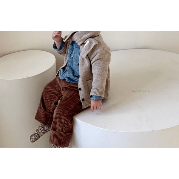 monbebe wool cardigan, mocha for toddlers