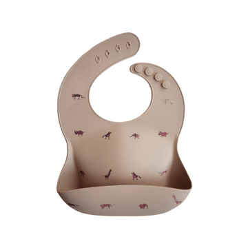 Mushie silicone bucket bib brown safari