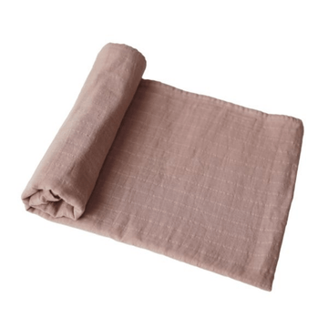 mushie organic muslin swaddle blanket, natural