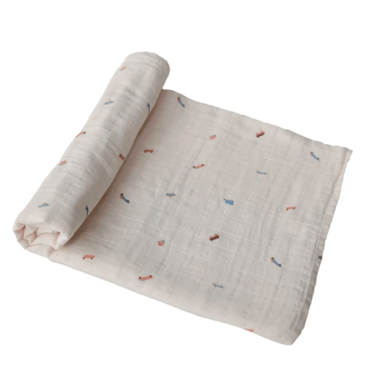 mushie organic muslin swaddle blanket, white with retro cars