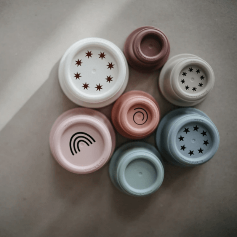 mushie stacking cups multi color