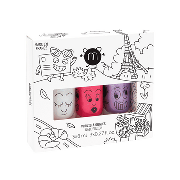 water-based nail polish set of three, city