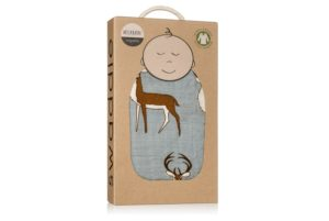 organic muslin swaddle in blue buck for baby gift box