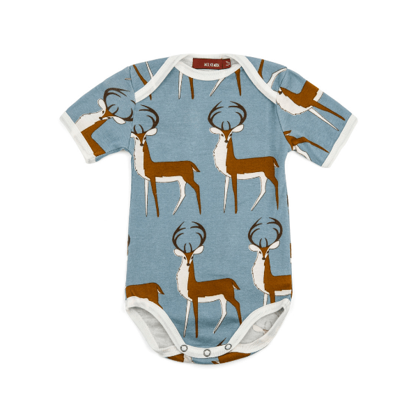 organic short-sleeve one-piece in blue buck