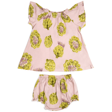 organic dress + bloomer set, artichoke