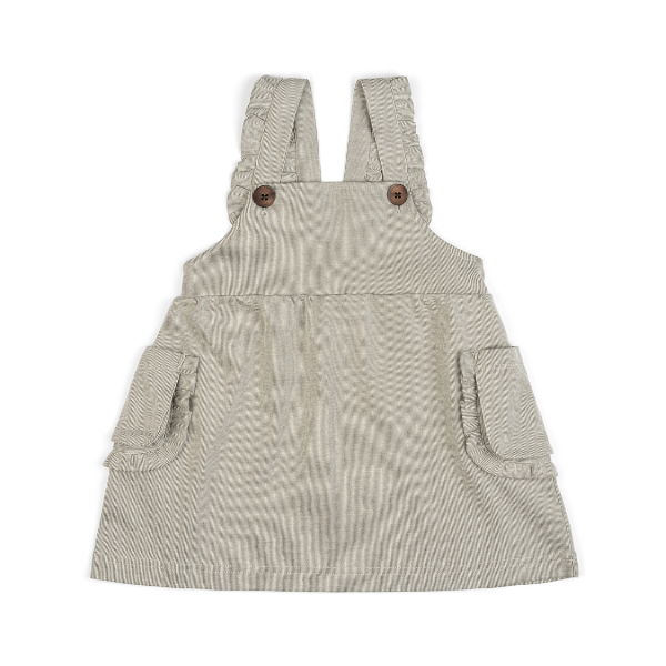 organic dress overall in grey pinstripe