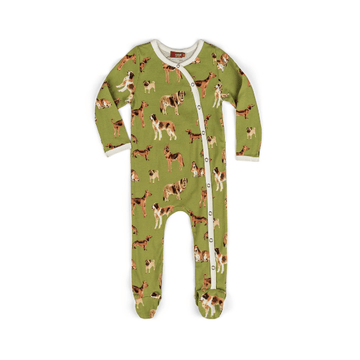 organic footed romper in green dog
