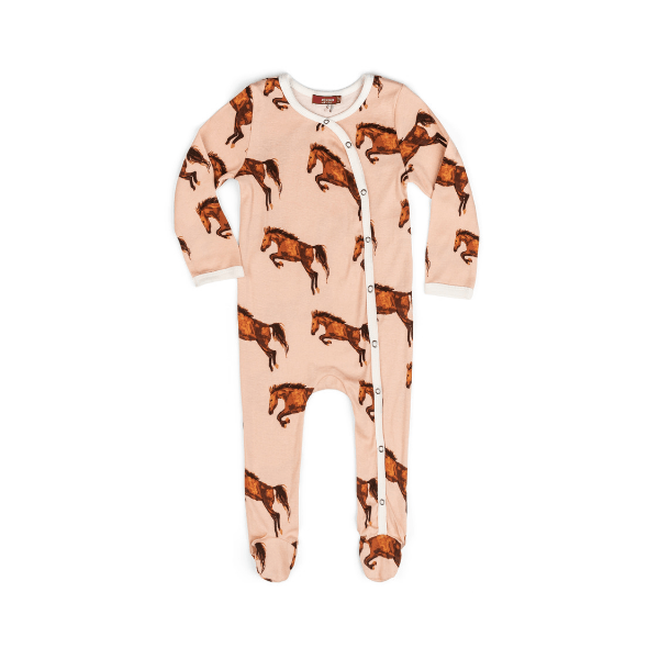 organic footed romper in horse