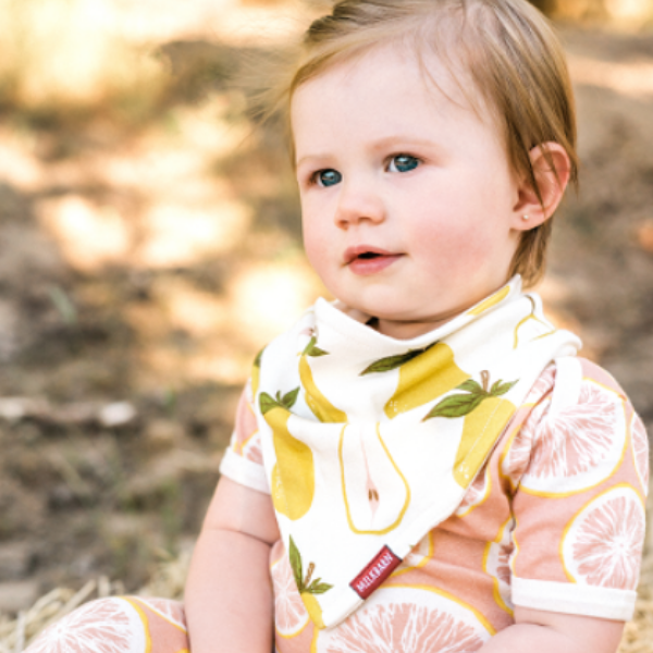 milkbarn organic kerchief bib in pear for baby