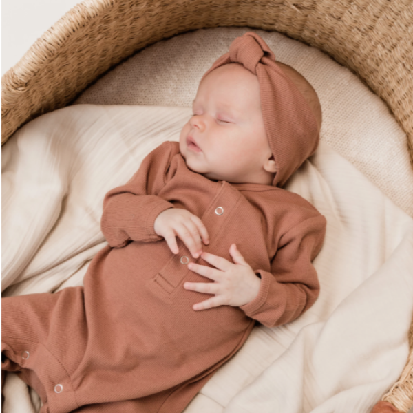 organic ribbed jersey jumpsuit, clay for baby boys and girls