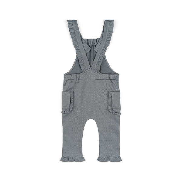 organic ruffle overall in denim with pockets