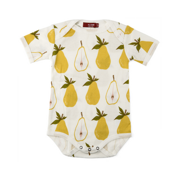 organic short-sleeve one-piece in pear