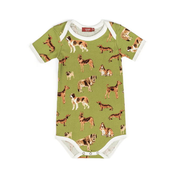 organic short sleeve one-piece in green dogs