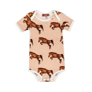 organic short sleeve one piece in horse