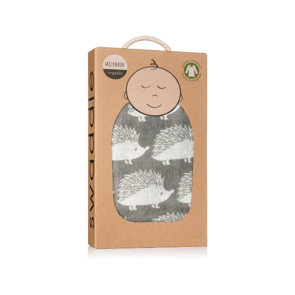 organic swaddle in hedgehog kraft box