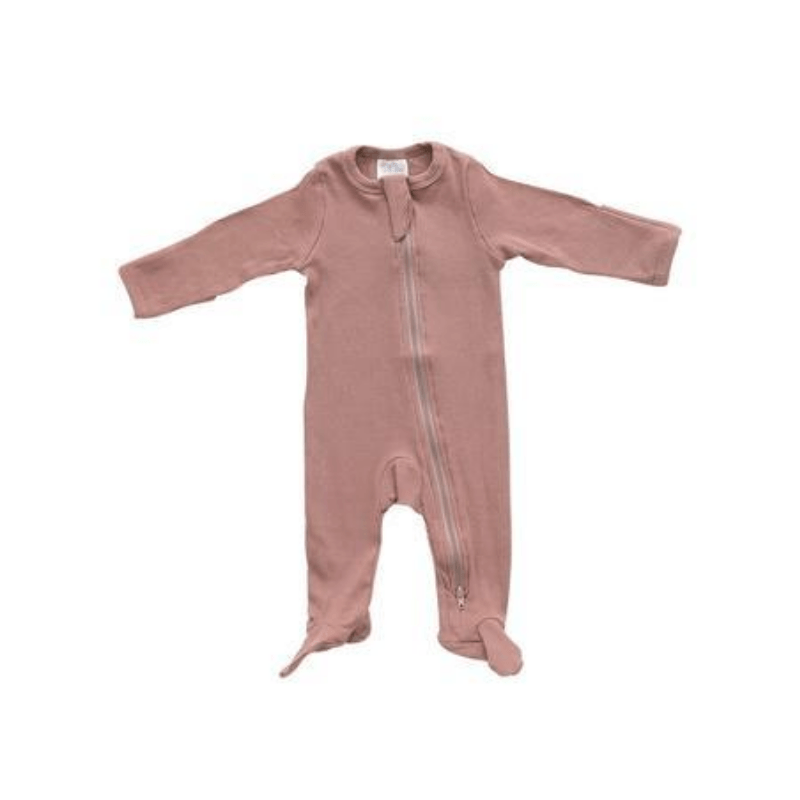 organic cotton ribbed footed one-piece zipper, dusty rose