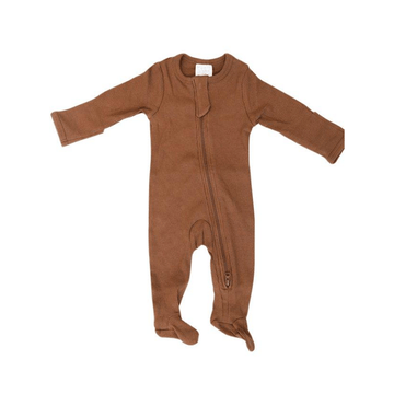 organic cotton ribbed footed one-piece zipper, rust