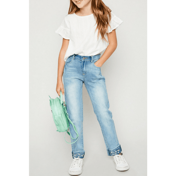 pearl embellished cuffed denim jeans for girls