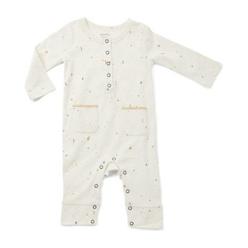 organic cotton long-sleeve romper, celestial