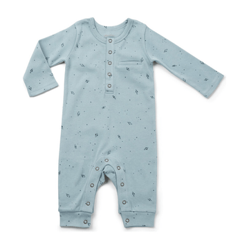 organic cotton long-sleeve romper, rocketman