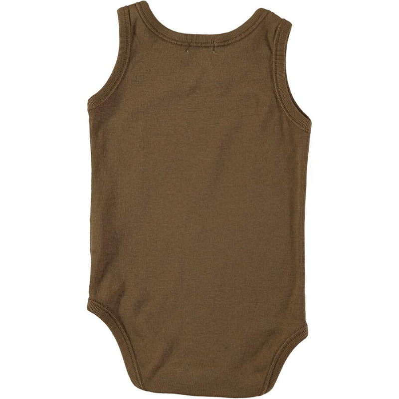 picnik jan sleeveless baby bodysuit, brown whale back