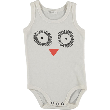picnik jan sleeveless baby bodysuit, owl