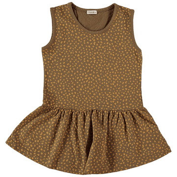 olivia knit dress, brown giraffe print