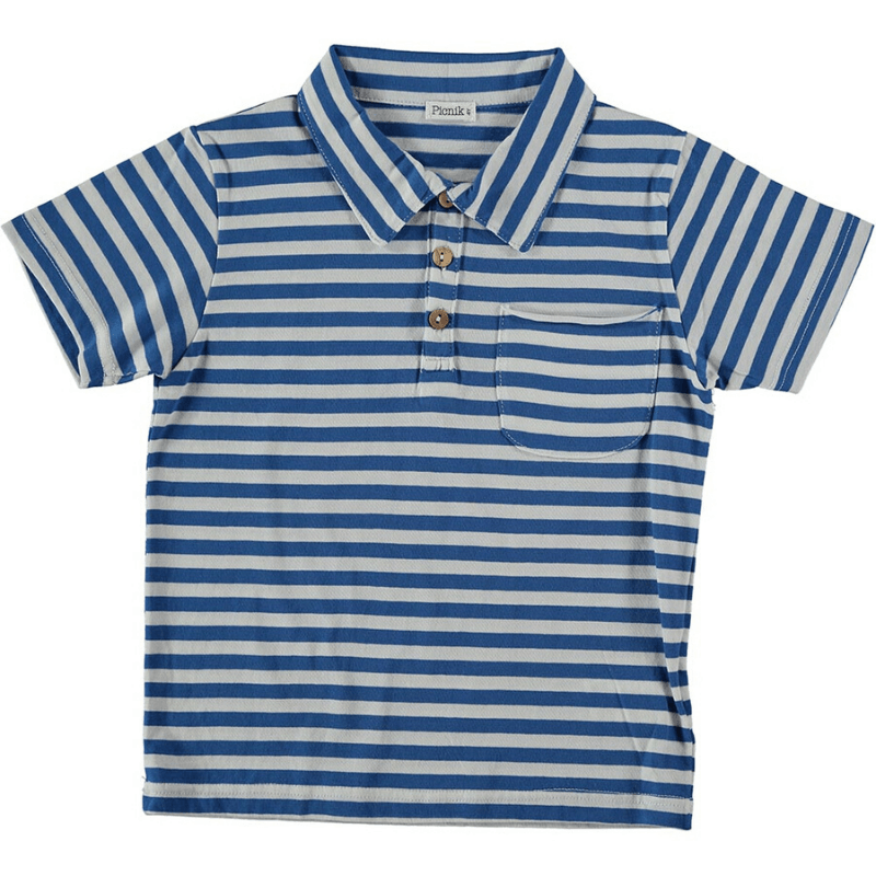 picnik striped polo t-shirt blue white