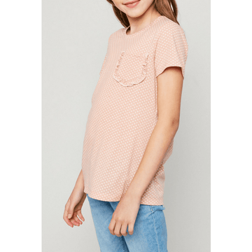 polka-dot ruffle pocket tee