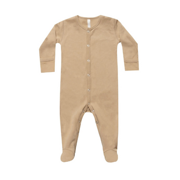 quincy mae organic full snap footed romper, honey
