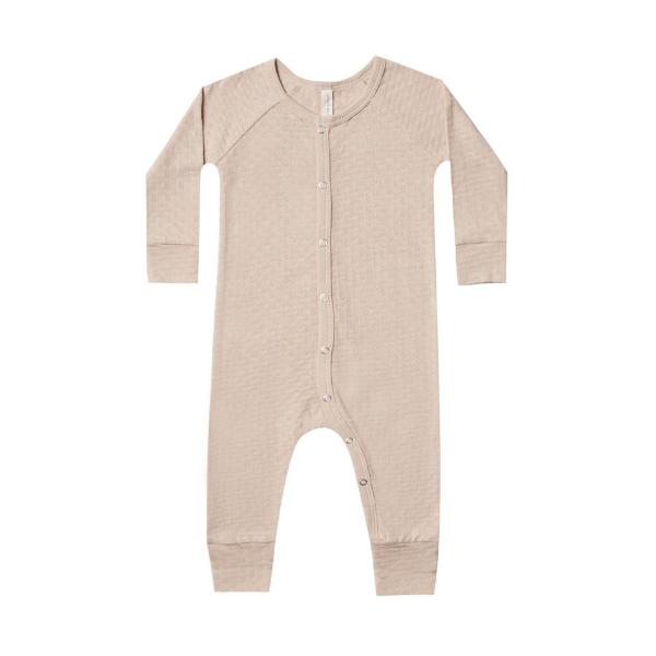 quincy mae organic pointelle long john, rose