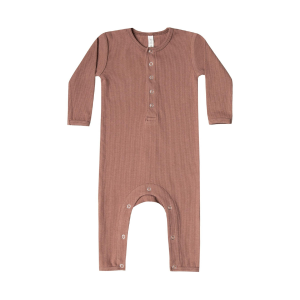 quincy mae organic ribbed jersey jumpsuit, clay