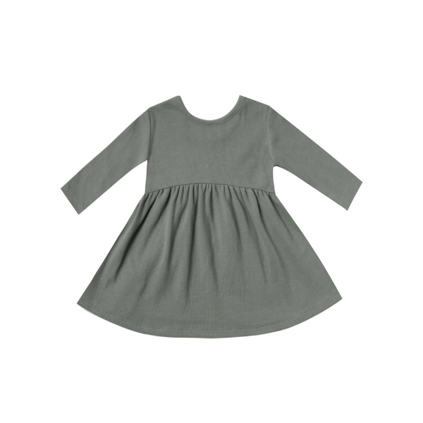 quincy mae organic ribbed jersey l/s dress, eucalyptus