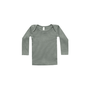 quincy mae organic ribbed jersey l/s lap tee, eucalyptus