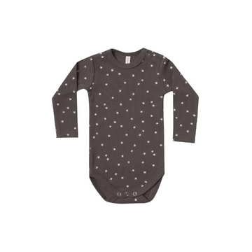 quincy mae organic ribbed l/s bodysuit, coal stars