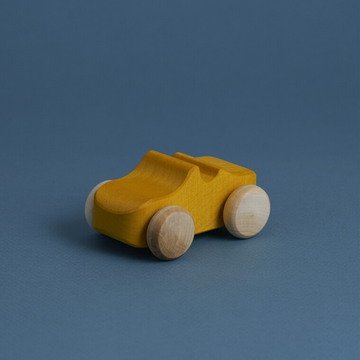wooden toy car, yellow