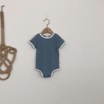 retro onesie for babies in blue