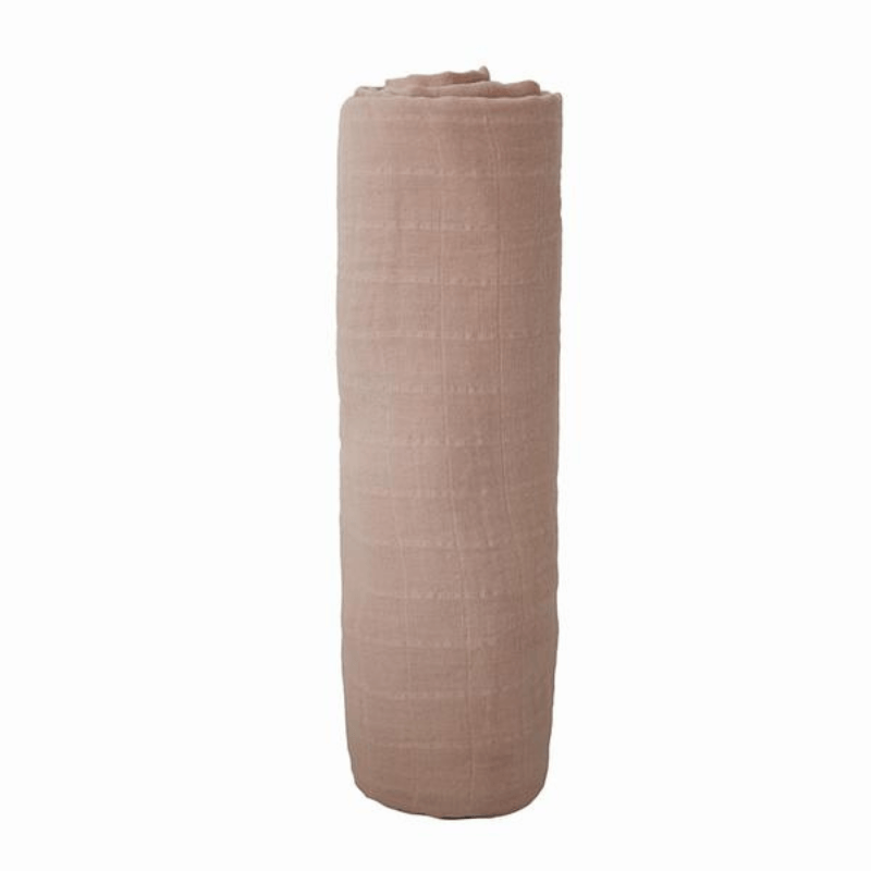 rolled mushie organic muslin swaddle blanket, pale taupe