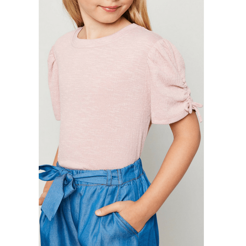 ruched puff-sleeve knit top