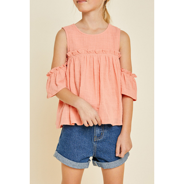 ruffle cold-shoulder top, peach