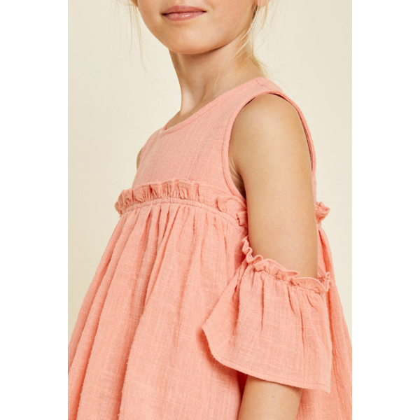 ruffle cold-shoulder top in peach for tween girls_crinkled gauze