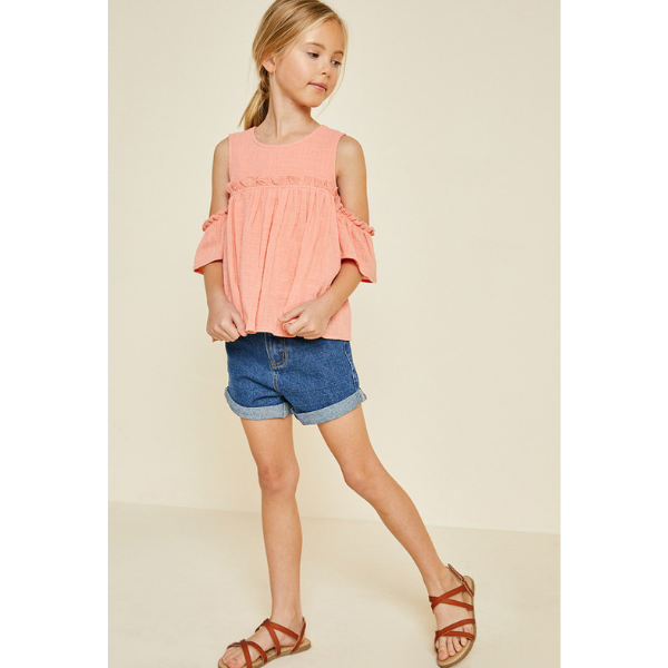 ruffle cold-shoulder top in peach for tween girls_fully lined