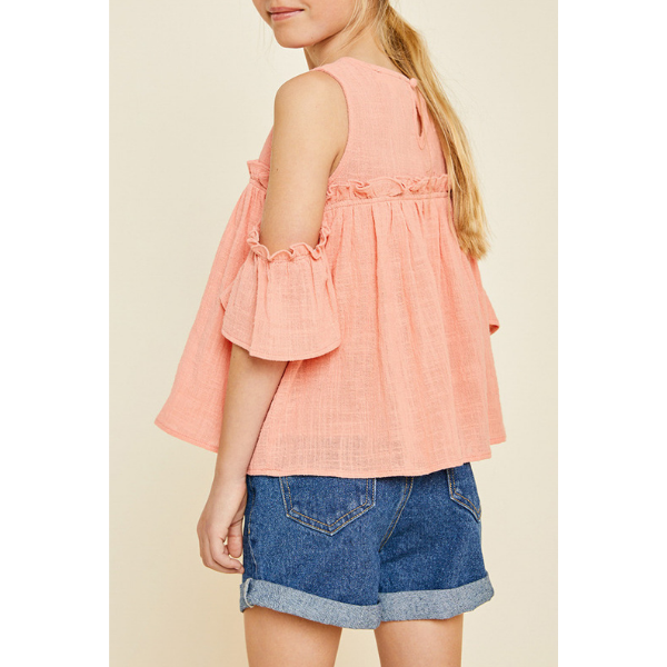 ruffle cold-shoulder top in peach for tween girls_loose fit