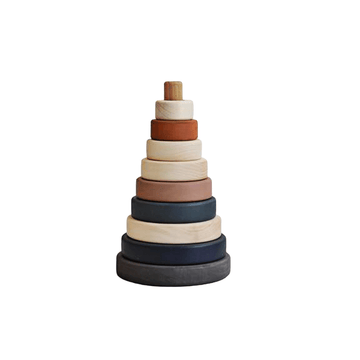 wooden stacking tower, terracotta