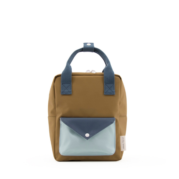 small envelope backpack in gold green, teal and misty green
