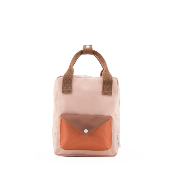small envelope backpack in peony pink from recycled materials