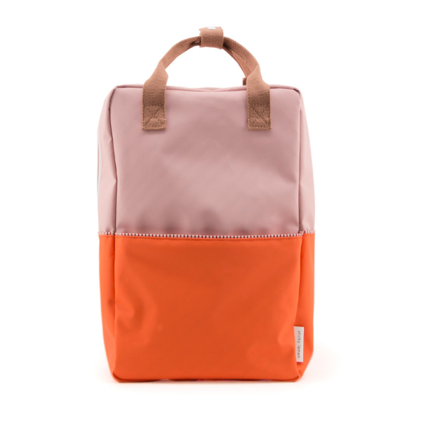 large color block backpack in pink (recycled material)
