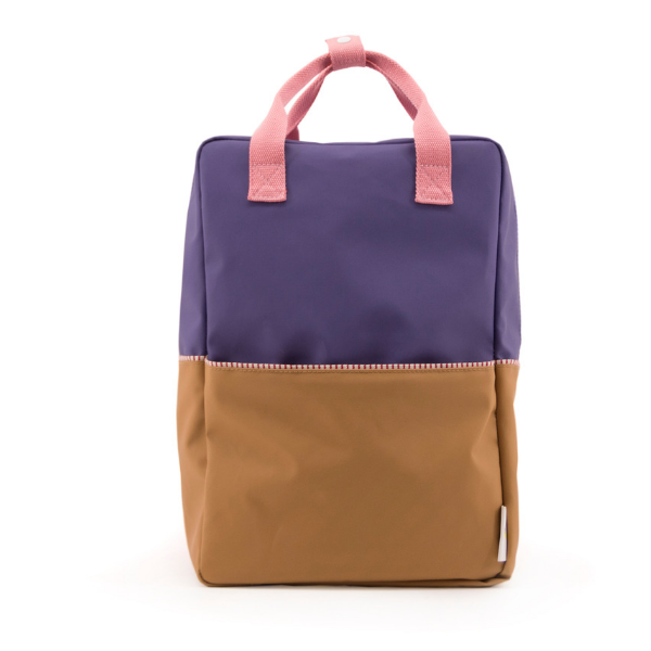 large color block backpack in purple (recycled material)
